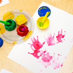 primary colors and finger painting