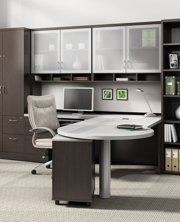 office with L-shaped desk and storage