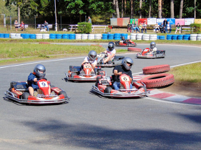 racing go-karts around a track