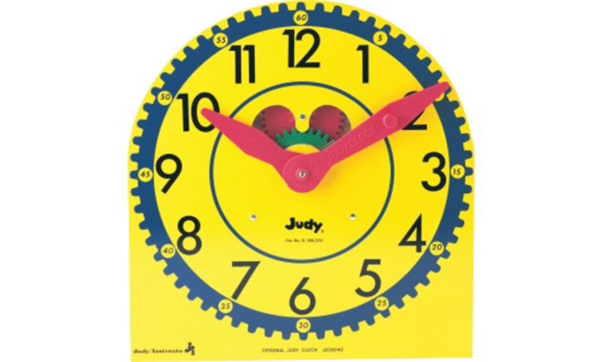yellow childrens clock with visible gears