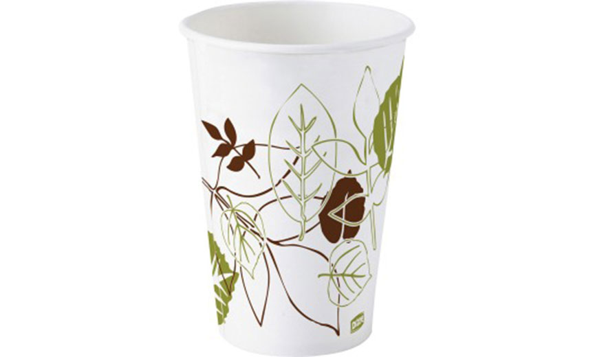 paper coffee cup with brown and green leaves