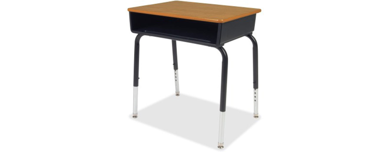 brown and black metal childrens school desk