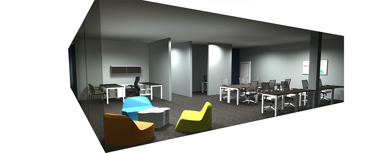 3D rendering of modern open office with tables and chairs