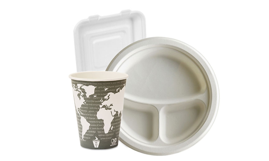 paper plate, coffee cup and styrofoam container