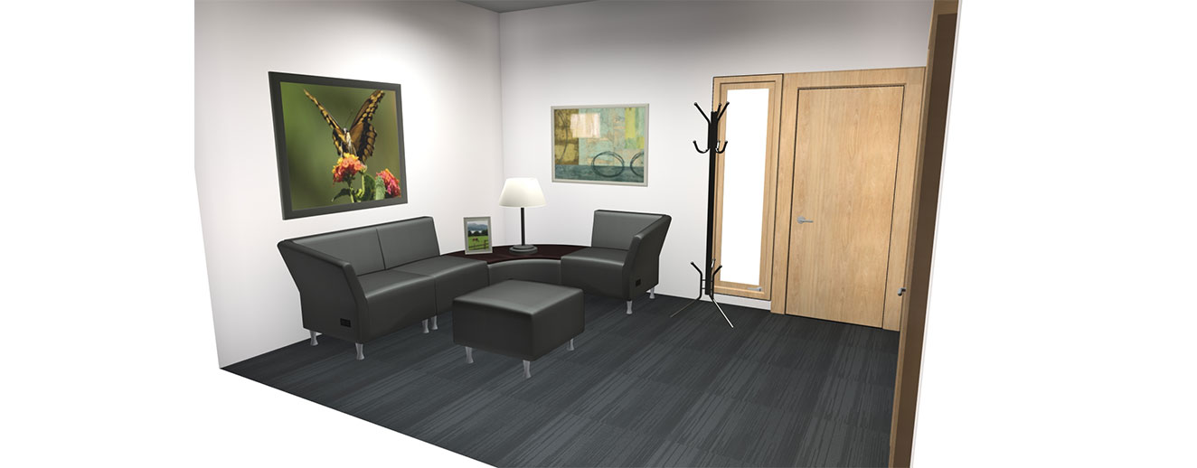 3D rendering of office waiting room with black wrap-around couch