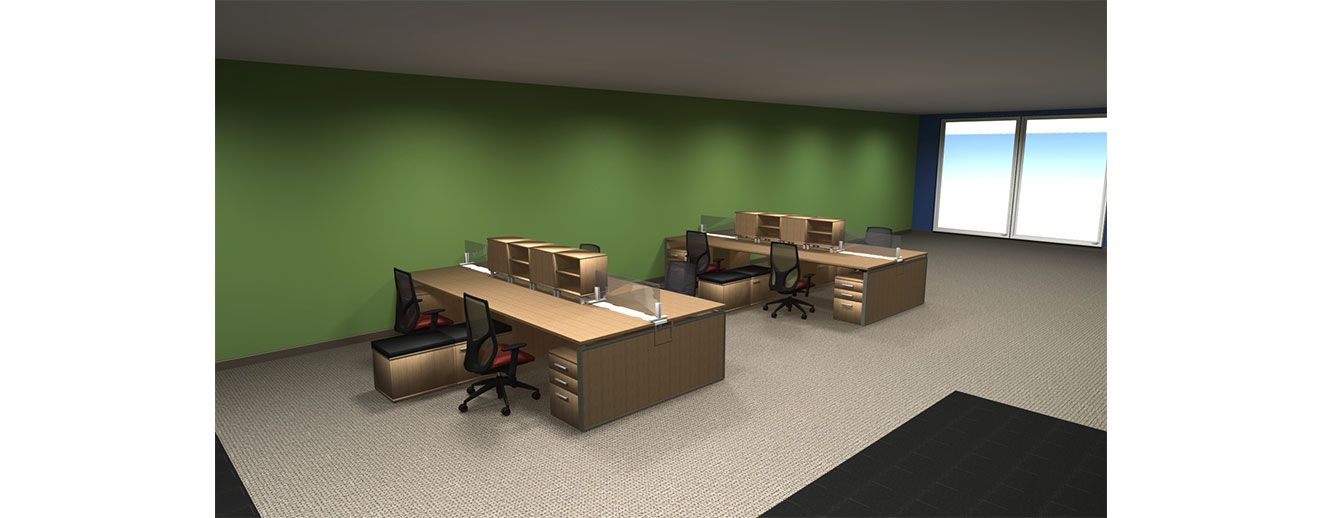 3D rendering of an office with large, wooden workstations