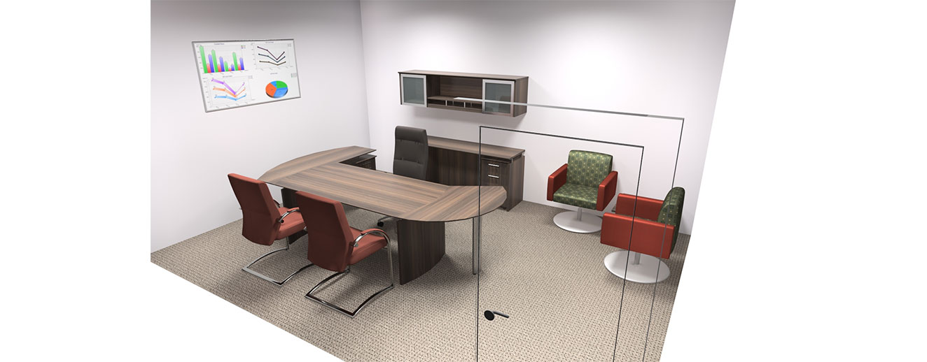 3D rendering of an office with minimal storage, a desk and a few chairs