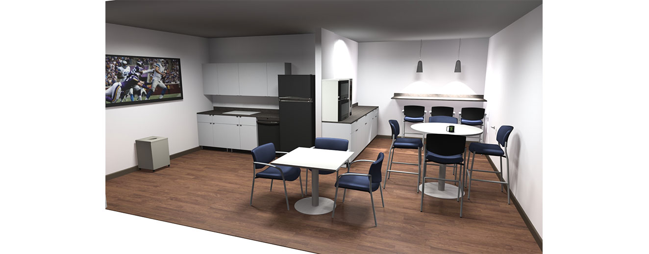 office breakroom with kitchenette, a bar and numerous tables