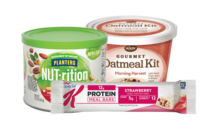 oatmeal kit, jar of peanuts and protein meal bar