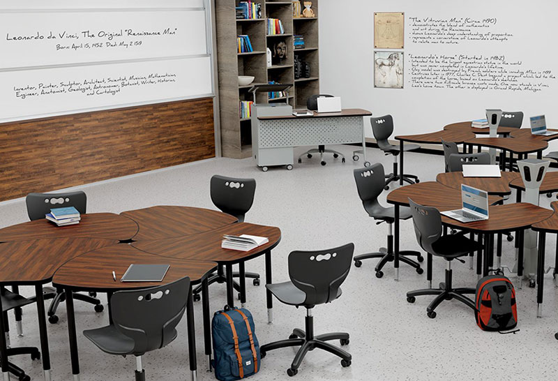 classroom with movable desks, chairs and large whiteboards