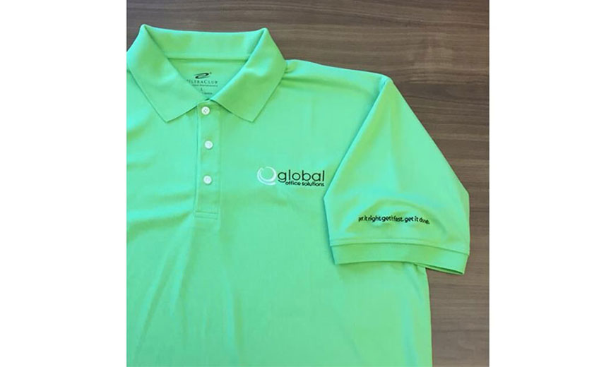 neon green, three button polo shirt