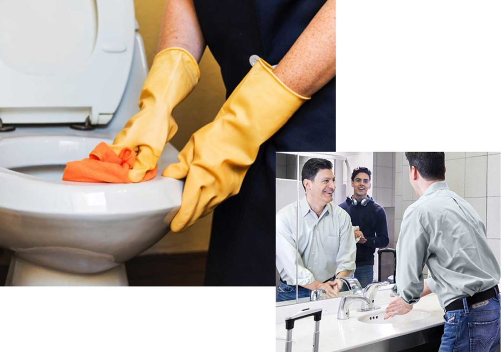 washing hands and washing toilet with yellow gloves