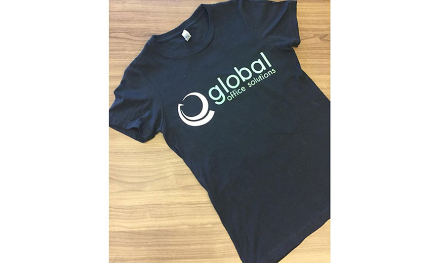 black, short sleeve global office solutions t-shirt