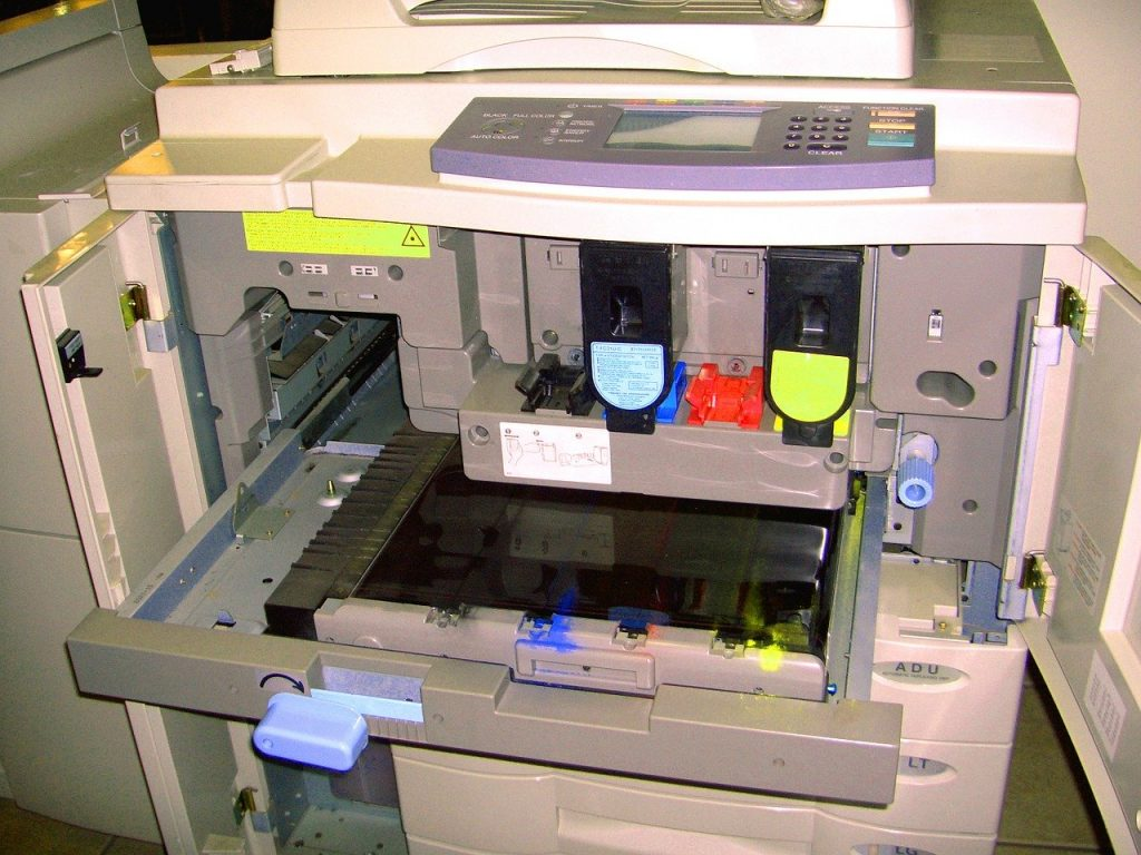 Inside an Office Printer, With Ink & Toner in View