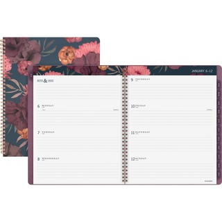Planner Book Open, With Closed View Showing Floral Pattern