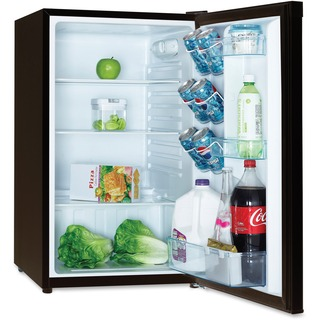 mini fridge with vegetables and cola